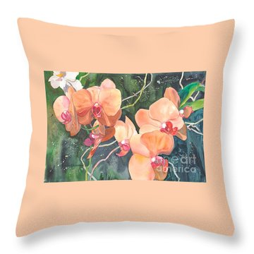 Throw Pillow featuring the painting Peach Orchids by Yolanda Koh