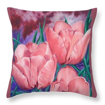 Perennially Perfect  Peach Pink Tulips Throw Pillow