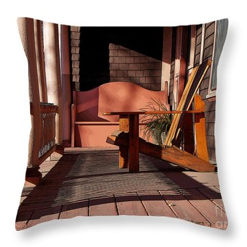 Throw Pillow featuring the photograph Peach Porch by Betsy Zimmerli