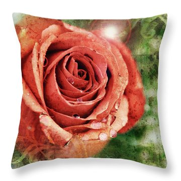 Peach Rose Throw Pillow by Sennie Pierson