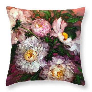 Peach Sorbet Peonies Throw Pillow