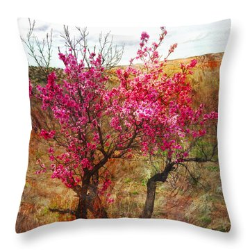 Peach Trees In Blossom Chimayo Throw Pillow