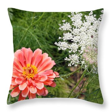 Throw Pillow featuring the photograph Peach Zinnia And Queen Anne's Lace by Ellen Tully