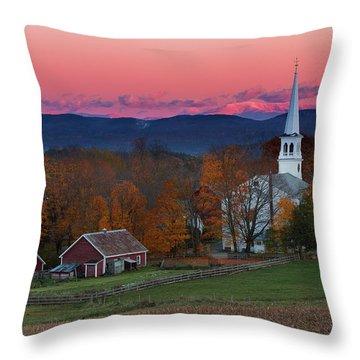 Peacham Village Fall Evening Throw Pillow