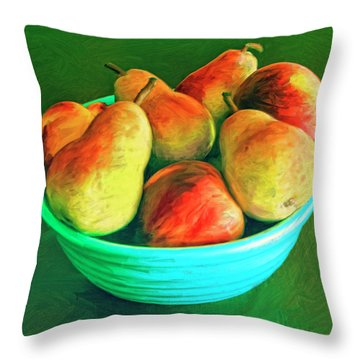 Peaches And Pears Throw Pillow by Dominic Piperata