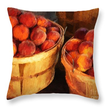 Peaches By The Bushel  Throw Pillow