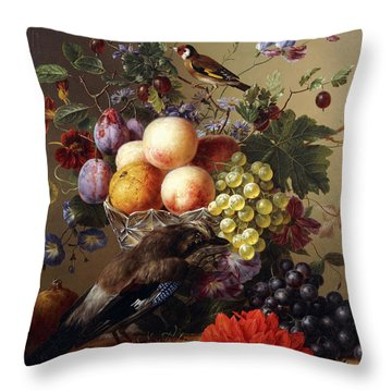 Peaches, Grapes, Plums And Flowers In A Glass Vase With A Jay On A Ledge Throw Pillow