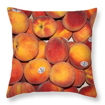 Peaches Throw Pillow by Lauri Novak