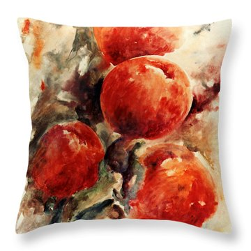 Peaches Throw Pillow by Rachel Christine Nowicki