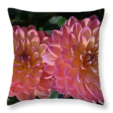 Peachy Dahlias Throw Pillow