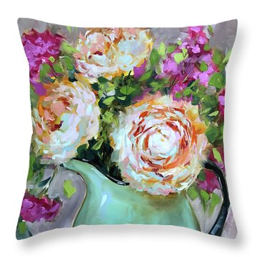 Peachy Darlings Pink Peonies And Carnations Throw Pillow