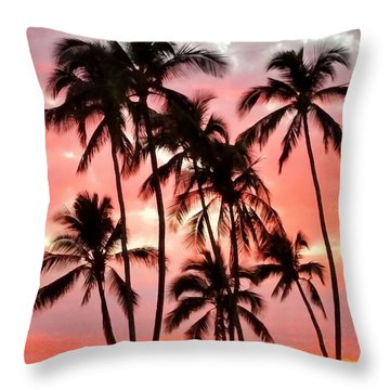 Peachy Palms Throw Pillow