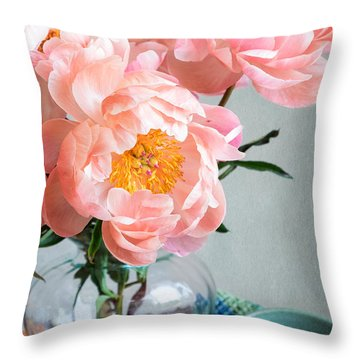 Peachy Peonies Throw Pillow