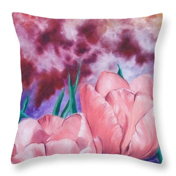 Peachypink Tulips Throw Pillow