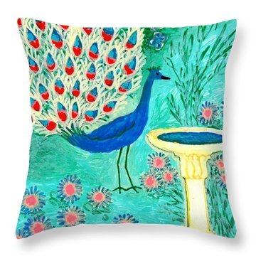 Peacock And Birdbath Throw Pillow by Sushila Burgess