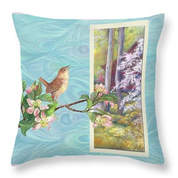 Peacock And Cherry Blossom With Wren Throw Pillow