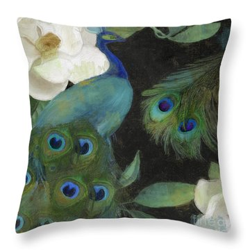 Peacock And Magnolia II Throw Pillow