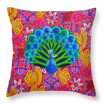 Peacock And Pattern Throw Pillow