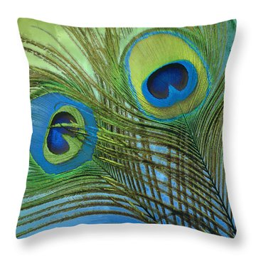 Peacock Candy Blue And Green Throw Pillow by Mindy Sommers