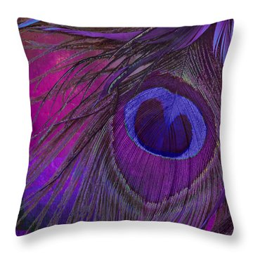 Peacock Candy Purple  Throw Pillow by Mindy Sommers