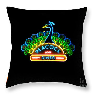 Peacock Diner In The Loop Throw Pillow