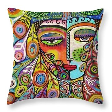 Peacock Emerald Lovebirds Goddess Throw Pillow