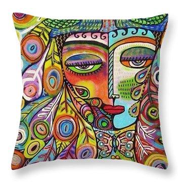 Peacock Emerald Lovebirds Goddess Throw Pillow by Sandra Silberzweig