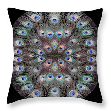 Peacock Eye Kaleidoscope Throw Pillow
