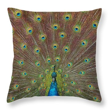 Peacock Fanfare Throw Pillow by Diane Alexander