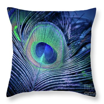 Throw Pillow featuring the photograph Peacock Feather Blush by Sharon Mau