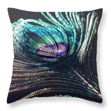 Peacock Feather In Sun Light Throw Pillow