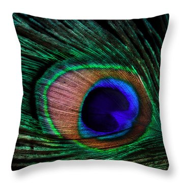 Peacock Feather Throw Pillow by June Marie Sobrito