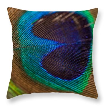 Peacock Feather Macro Detail Throw Pillow