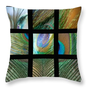 Peacock Feather Mosaic Throw Pillow