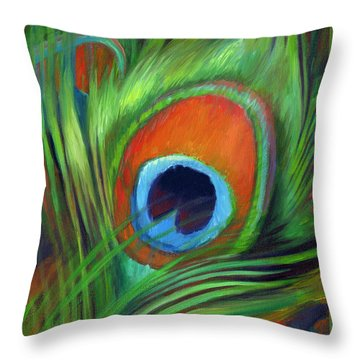 Peacock Feather Throw Pillow by Nancy Tilles
