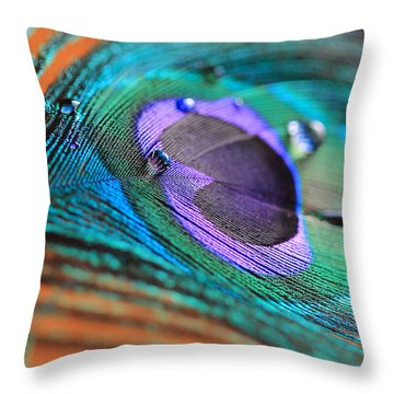 Peacock Feather With Water Drops Throw Pillow