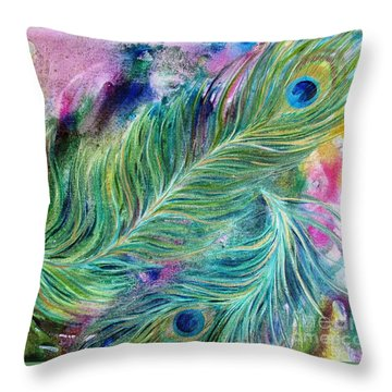 Peacock Feathers Bright Throw Pillow by Denise Hoag