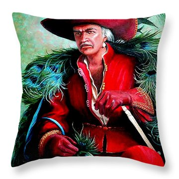 Throw Pillow featuring the painting Peacock Feathers Connery by Loxi Sibley