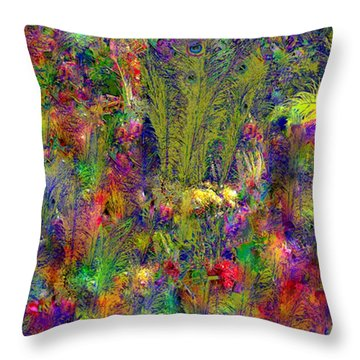 Throw Pillow featuring the photograph Peacock Feathers by EDi by Darlene