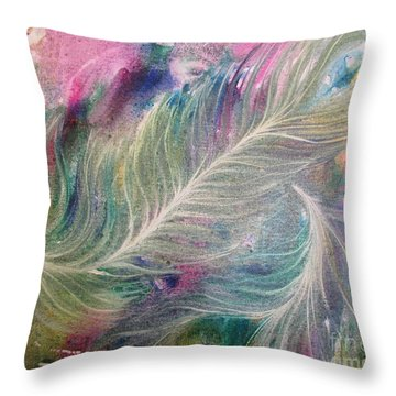 Peacock Feathers Pastel Throw Pillow by Denise Hoag