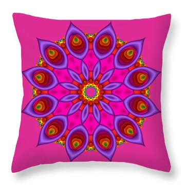 Peacock Fractal Flower II Throw Pillow