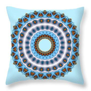 Peacock Fractal Mandala I Throw Pillow