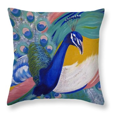 Peacock Glory Throw Pillow