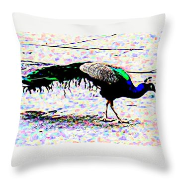 Peacock In Abstract Throw Pillow