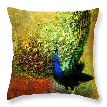 Peacock In Full Color Throw Pillow