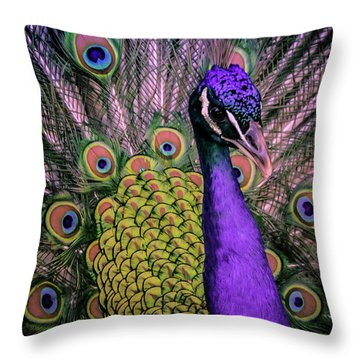 Peacock In Purple 2 Throw Pillow