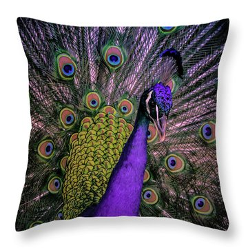 Peacock In Purple Throw Pillow