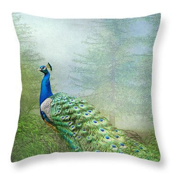 Peacock In The Forest Throw Pillow by Bonnie Barry