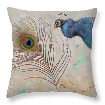 Throw Pillow featuring the painting Peacock In Three Views by Nancy Lee Moran