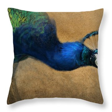 Peacock Light Throw Pillow by Aaron Blaise